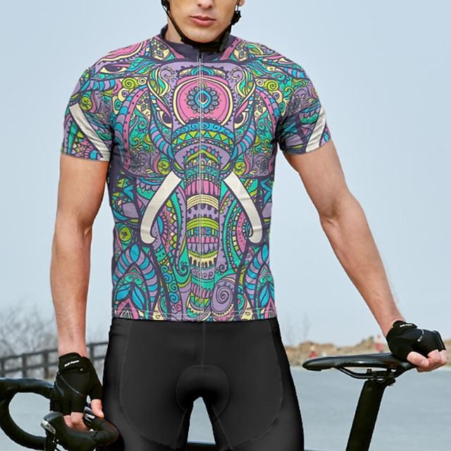 21Grams Męskie Krótki rękaw Koszulka rowerowa Lato Spandeks Poliester Fioletowy W Tureckie Wzory Rower Dżersej Top Kolarstwo górskie Kolarstwie szosowym Szybkie wysychanie Odprowadza wilgo