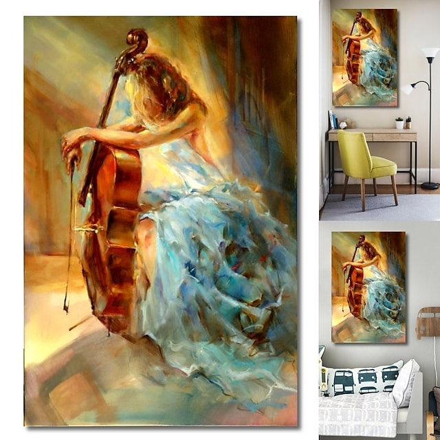wall art καμβά εκτυπώσεις ζωγραφική έργα τέχνης εικόνα κορίτσι πορτραίτο μουσική βιολοντσέλο διακόσμηση σπιτιού διακόσμηση έλασης καμβά χωρίς πλαίσιο χωρίς πλαίσιο