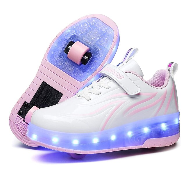 Unisex Girls' Trainers Athletic Shoes Comfort LED Shoes USB Charging PU Heelys Shoes Big Kids(7years +) Little Kids(4-7ys) Daily Walking Shoes Blue Pink Black Fall Spring / Rubber