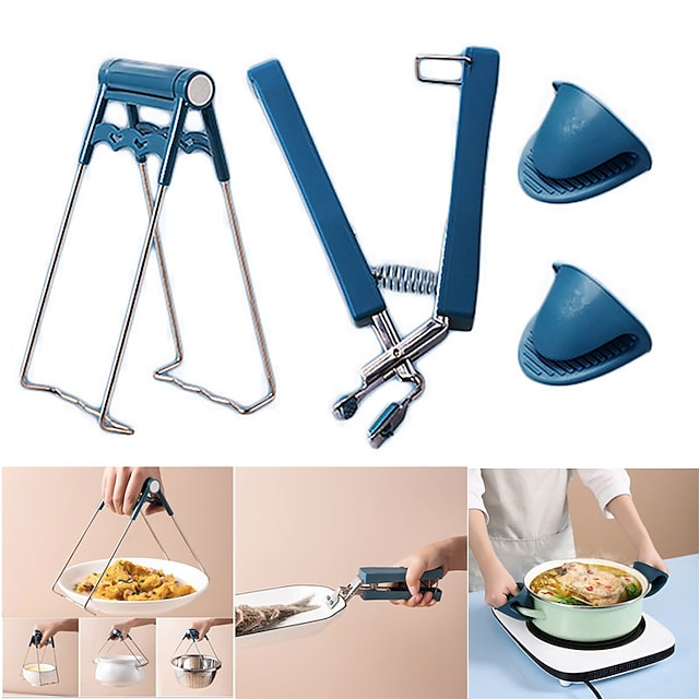 Set di utensili da cucina antiscottatura da 4 pezzi Set di utensili da cucina pieghevole in acciaio inox con clip per ciotola calda