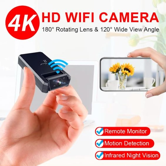 4K Mini Camera WiFi Smart Wireless Camcorder IP Hotspot HD Night Vision Video Micro Small Cam Motion Detection