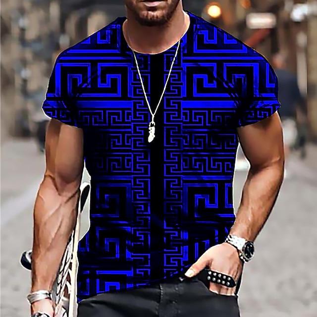 Herr Unisex T-shirts T-shirt Skjorta 3D-tryck Geometrisk Grafiska tryck Tryck Kortärmad Dagligen Blast Ledigt Designer Stor och hög Blå Purpur Gul / Sommar
