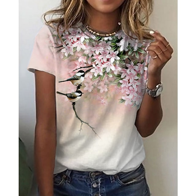 Women's Floral Theme Painting T shirt Floral Graphic Print Round Neck Basic Tops Blushing Pink