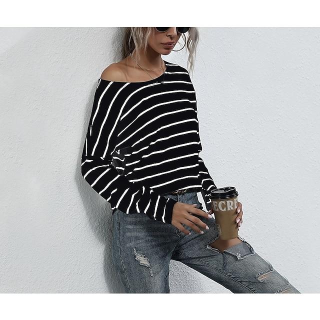 LITB Basic Women's Striped Round Neck T-Shirt Long Sleeves Tops