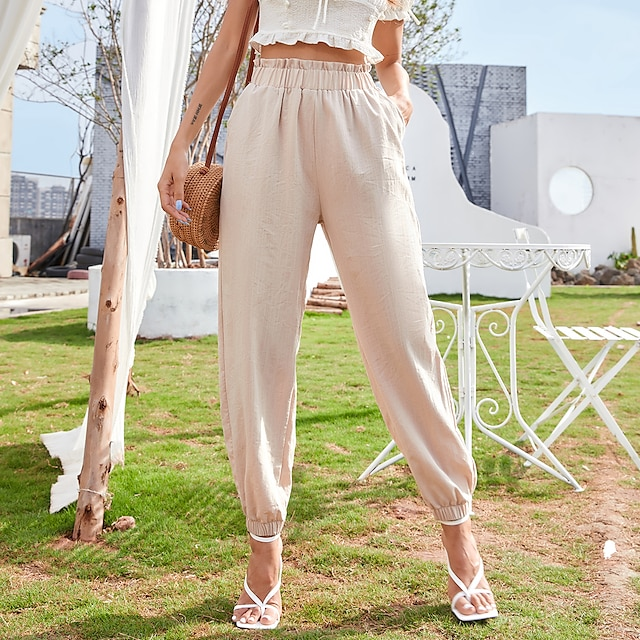 Women's Paperbag Waist Pants Solid Color Bottoms High Waist