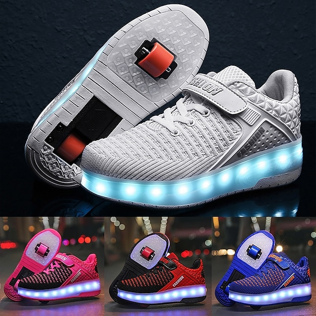 Light Up Shoes Roller Skates LED Shoes With USB Charging Flyknit Sport Sneaker For Boys Girls Kids Birthday Best Gift Glowing Luminous White Black Blue Pink Spring