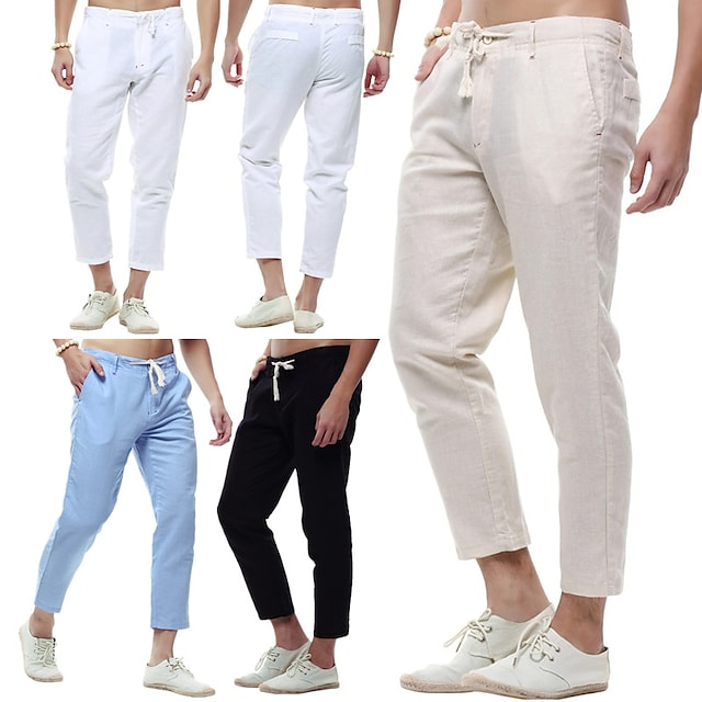 Men's Yoga Pants Drawstring Pocket Cropped Pants Bottoms Quick Dry Lightweight Solid Color Khaki White Black Linen Yoga Fitness Running Summer Sports Activewear Slim / Athletic / Casual / Athleisure