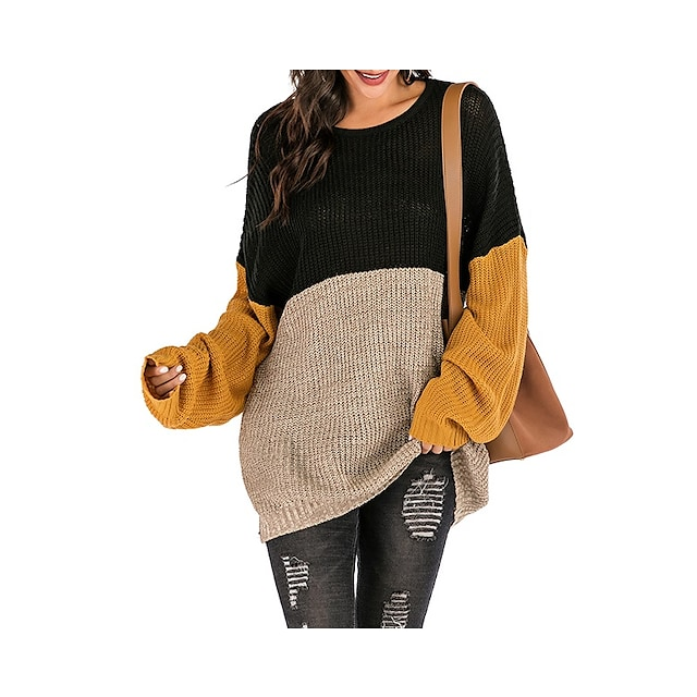 LITB Basic Women's Color Block Sweater Long Sleeves Tops Drop Shoulder Contrast Color