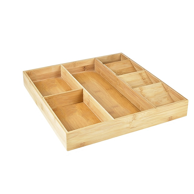 Bamboo Kitchen Drawer Storage Box Expandable Silverware Storage Box Kitchen Cutlery Box Knife Tool Tray