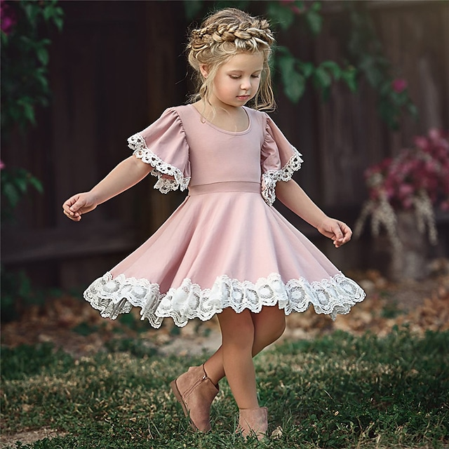 Kinder Kleine Mädchen Kleid Leger Blumen Spitze Einfarbig Party Schule Lila Rosa Grün Kurzarm Nette Süße Kleider Sommer 2-12 Jahre