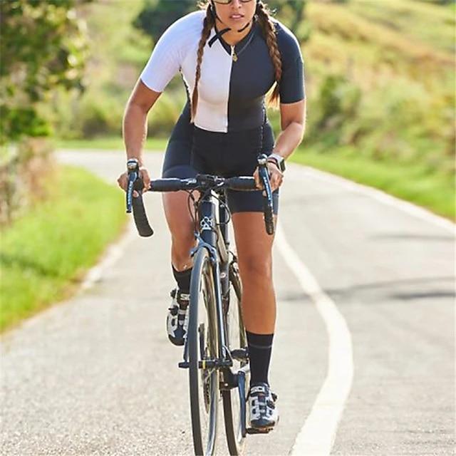 kortärmad triatlon tri kostym svart + vit cykel snabbtorkande andningskläder för sport patchwork