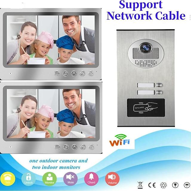 Multi apartamento conecta dos monitores interiores Videoportero de pantalla grande de 9 pulgadas con sistema de intercomunicación de 2 vías compatible con control remoto