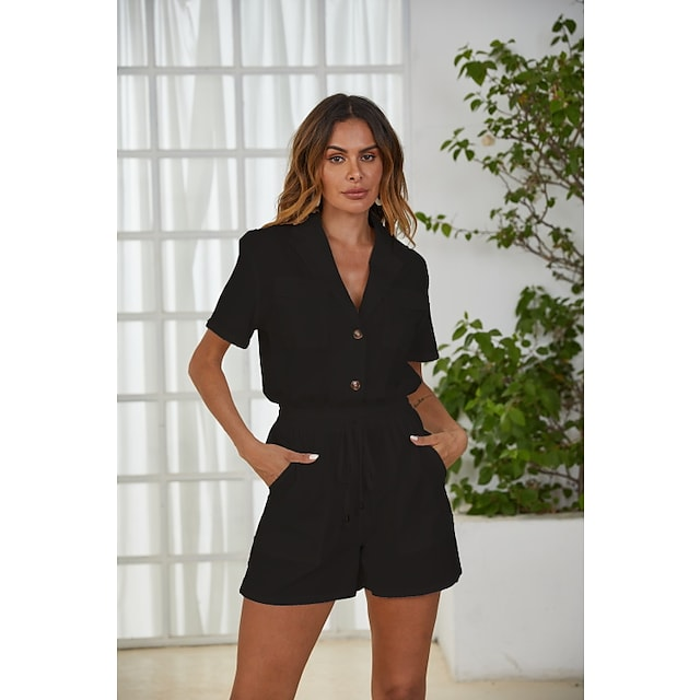 Litb Basic Women's Suits Daily Wear Vacation Buckle Plain Polyester Simple Style Shorts Spring & Summer Lapel Short Sleeve Drawstring Pocket