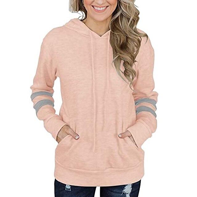 Women's Pocket Hoodie Long Sleeves Tops Stripe Trimed Sporty