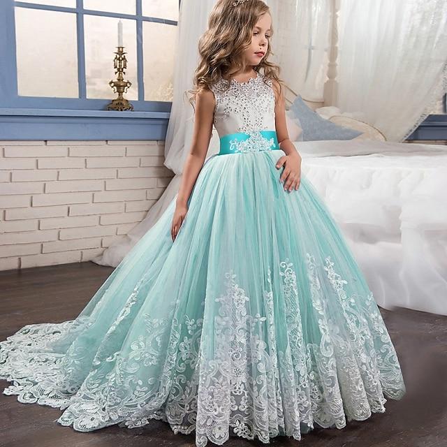 børn, små pigers kjole, blonde, prinsesse, fest, formel, aften, bryllupsfest, broderi, sløjfe, hvid, lilla, rød, tyl, maxi, ærmeløs, elegant, årgang, kjole til kjole, pasform, 4-13 år