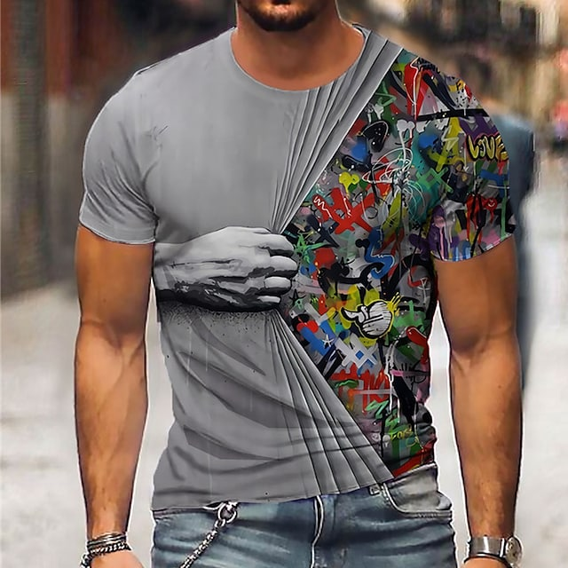 Muškarci Uniseks Majice s kratkim rukavima Majica 3D ispis Grafike ruke Ispis Kratkih rukava Dnevno Vrhovi Ležerne prilike Dizajnerske Veliki i visoki Plava Sive boje Djetelina / Ljeto