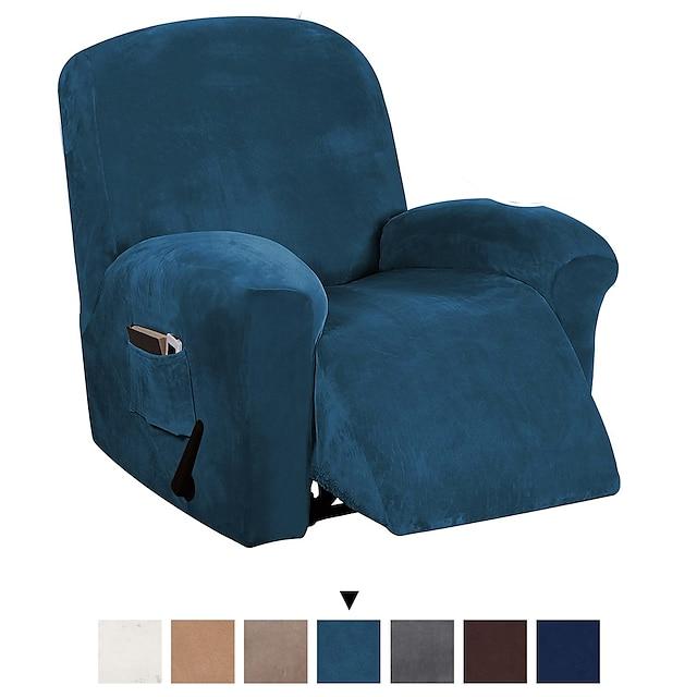 housse de canapé housse de chaise inclinable extensible housse velours 2 places causeuse blanc gris/gris bleu avec poche uni couleur unie doux durable lavable