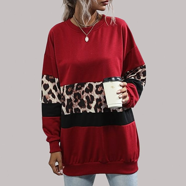 Women's Leopard Panel Color Block Sweater Long Sleeves Tops Drop Shoulder Contrast Color