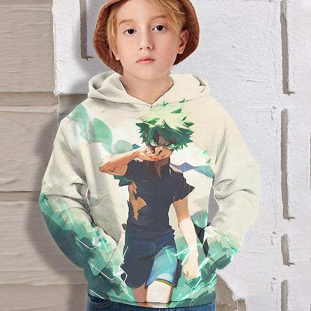 Kids Boys' Hoodie Long Sleeve 3D Print Cartoon Anime Light Green Children Tops Fall Active Regular Fit 4-12 Years