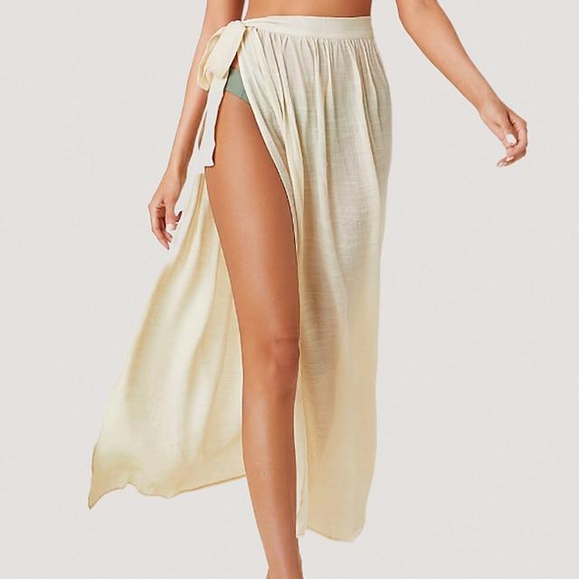 litb 기본 여성의 묶인 측면 투명 드레스 열기 묶인 드레스 높은 허리 행 아웃 착용