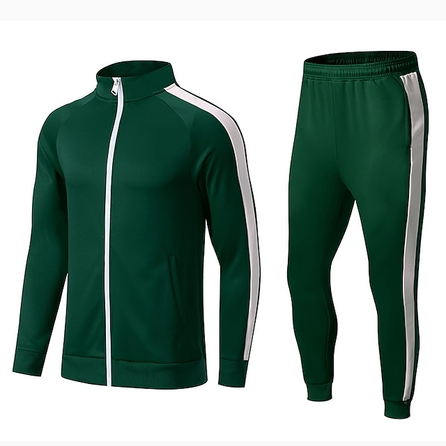 Men's 2 Piece Tracksuit Sweatsuit Athletic Athleisure Winter Long Sleeve Thermal Warm Breathable Soft Gym Workout Running Jogging Training Exercise Sportswear Color Block Normal Jacket Track