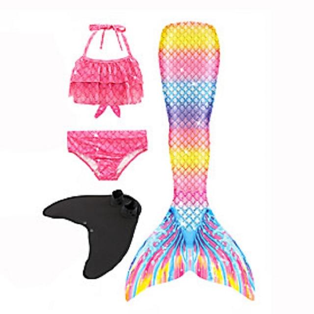 costumi da bagno per bambina bikini 4 pezzi costume da bagno coda da sirena la sirenetta con monopinna costume da bagno arcobaleno geometrico colorato rosso rosa arrossato party active costumi cosplay costumi da bagno 3-10 anni