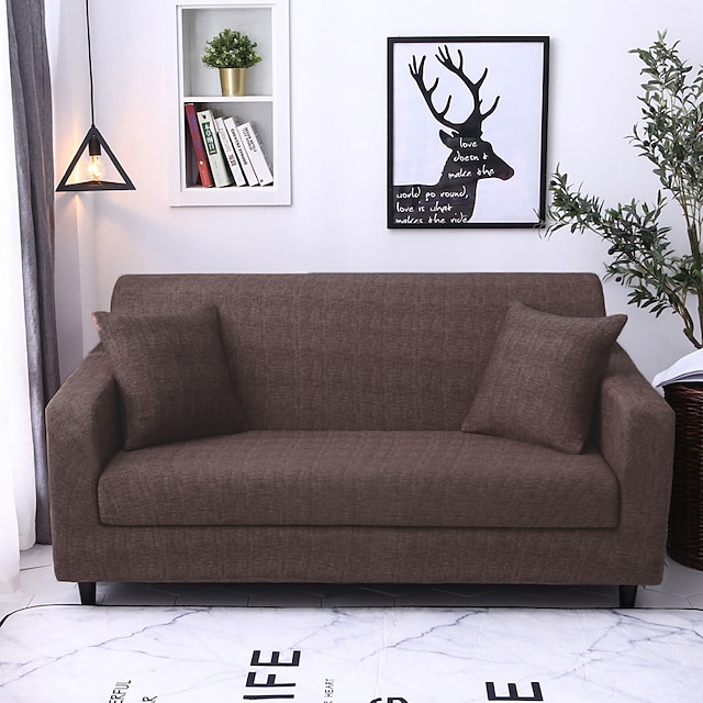 Stretch Sofa Cover Slipcover Elastic Sectional Couch Armchair Loveseat 4 Or 3 Seater L Shape Soft Durable