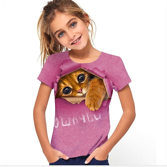 Kids Girls' T shirt Short Sleeve Cat Animal Print Fuchsia Children Tops Summer Active Cute Daily Wear Regular Fit 4-12 Years