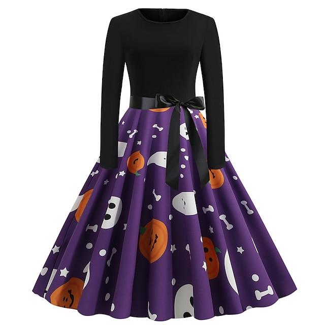 Audrey Hepburn Vintage Dress Women's Spandex Costume Yellow / Black / Purple / Yellow Vintage Cosplay Halloween