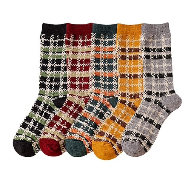 Women's Comfort Women'socks Plaid Checkered Stockings / Socks Warm Daily Yellow 1 Pair Cute