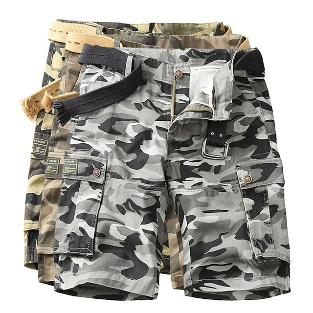 Men's Hiking Cargo Shorts Tactical Shorts Camo Shorts Multi-Pockets Quick Dry Breathable Wearproof Summer Camo / Camouflage Cotton Bottoms for Camping / Hiking Hunting Fishing Army Green Dark Gray