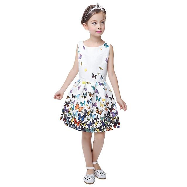 Vit ärmlös söt sommarklänning för barn och flickor med avslappnat blom- och prinsesspartytema och fjärilstryck. Passar barn i åldern 5–12 år