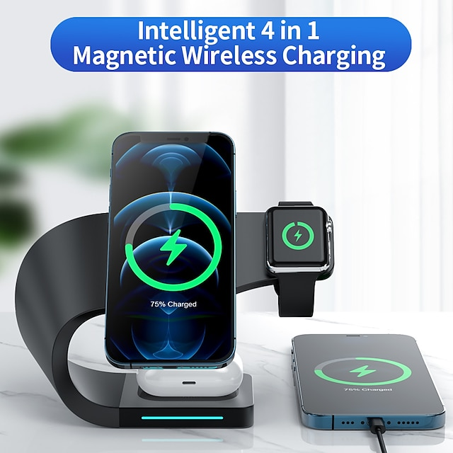 15 w putere de ieșire usb usb c încărcător telefon 4 în 1 încărcătoare wireless încărcător portabil pentru ceas inteligent pentru telefon mobil