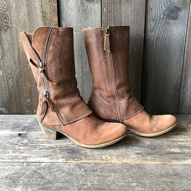 Women's Boots Chunky Heel Round Toe PU Solid Colored Brown