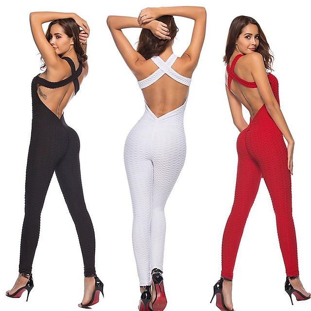 Women's Yoga Suit Summer Backless Cross Back Jacquard Romper Clothing Suit Red White Yoga Fitness Gym Workout High Waist Tummy Control Butt Lift Quick Dry Sport Activewear High Elasticity Slim