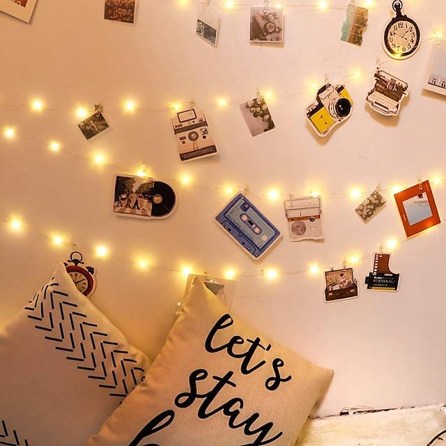 led foto clip șir de lumini 5m50leds / 10m100leds fotografie zână lumini de interior cu cleme alimentate cu baterie sârmă cooper agățat șir afișare foto pentru dormitor petrecere de nunta decoratiuni