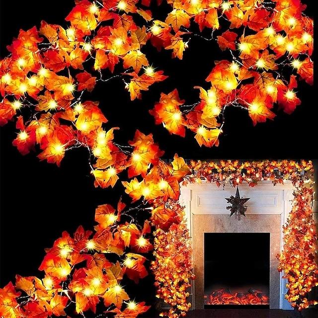 할로윈 빛 led 문자열 빛 메이플 리프 led 요정 문자열 조명 3m-20leds 1.5m-10leds 배터리 또는 usb 작업 화환 조명 크리스마스 파티 홈 정원 휴일 파티오 장식