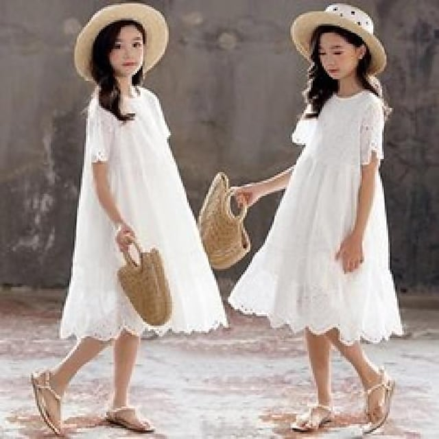 big girls lace hollow embroidery dresses 2021 summer children white jacquard falbala short sleeve dress old kids cotton princess clothing 3-15t a6988