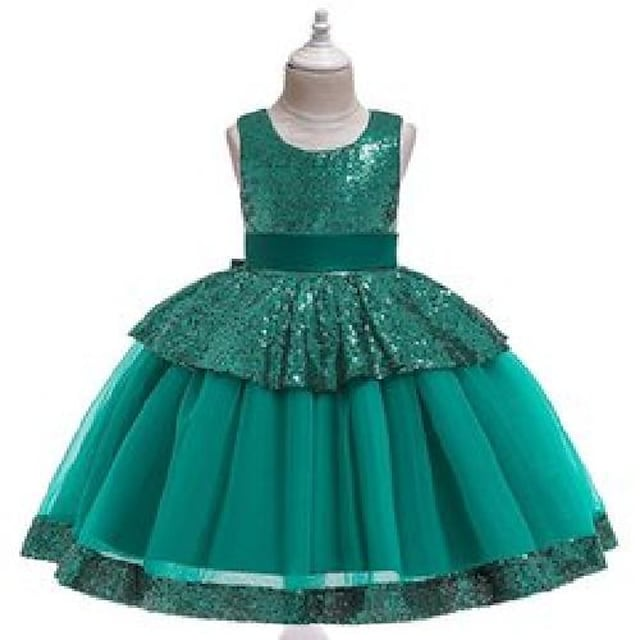 designed girl's dresses children's sequin lace princess fluffy catwalk dress