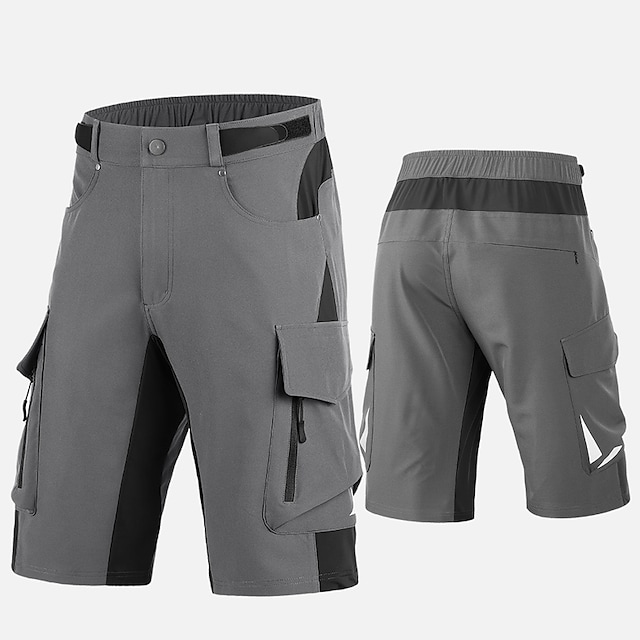 Men's Cycling Padded Shorts Summer Bike MTB Shorts Sports Patchwork Grey / Black Clothing Apparel Relaxed Fit Bike Wear / Micro-elastic / Athleisure