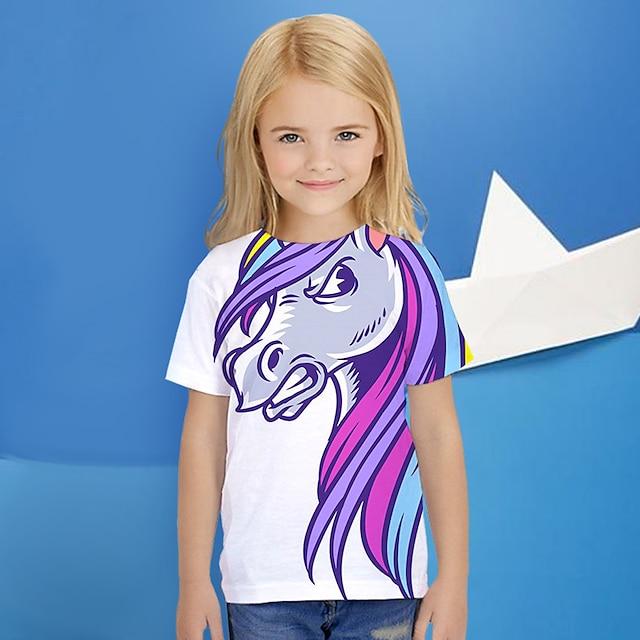 Kids Girls' T shirt Short Sleeve Unicorn Animal Print Purple Children Tops Summer Active Daily Wear Regular Fit 4-12 Years