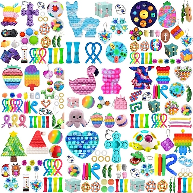 40 st topp fidget leksaker pack anti stress leksak set marmor lättnad present till vuxna flicka barn sensoriska antistress lättnad figet leksaker