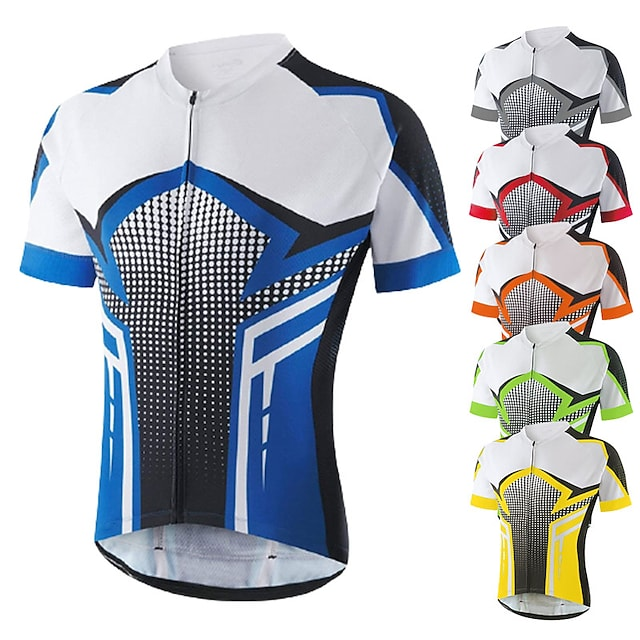 21Grams Men's Short Sleeve Cycling Jersey Biking Shirts Summer Spandex Polyester Full Zip Bike Jersey Top Mountain Bike MTB Road Bike Cycling Quick Dry Moisture Wicking Breathable Sports