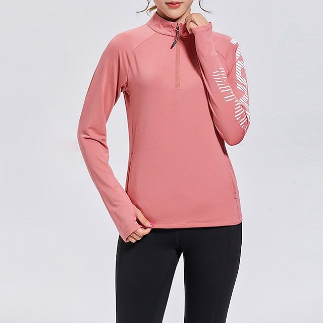 Women's Long Sleeve Running Shirt Thumbhole Half Zip Top Athletic Athleisure Winter Spandex Quick Dry Breathable Soft Gym Workout Running Active Training Jogging Exercise Sportswear Normal Light