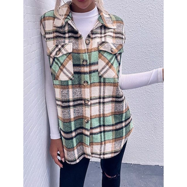 Women's Vest Daily Work Fall Winter Long Coat Slim Adjustable Casual Jacket Sleeveless Plaid Check Patchwork Green
