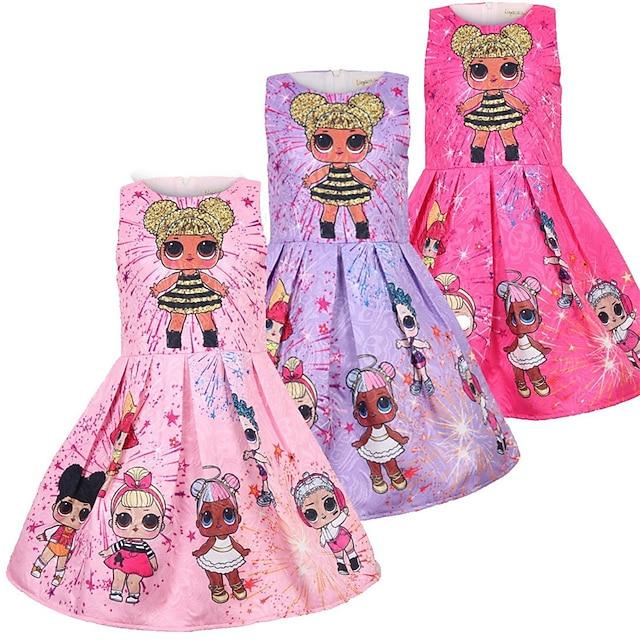 Toddler Kid's Little Girls' Dress Cartoon Graphic Prints Tank Dress Casual Pink Purple Rose Red Sleeveless Princess Cute Sweet Dresses Summer