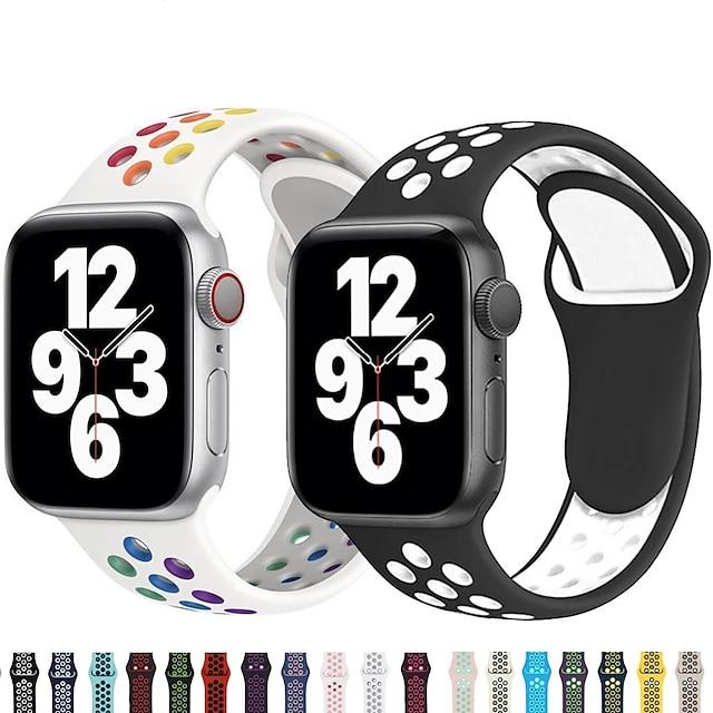Älykäs ranneke varten Apple  iWatch 1 pcs Urheiluhihna Silikoni Korvaus Rannehihna varten Apple Watch -sarja 7 / SE / 6/5/4/3/2/1