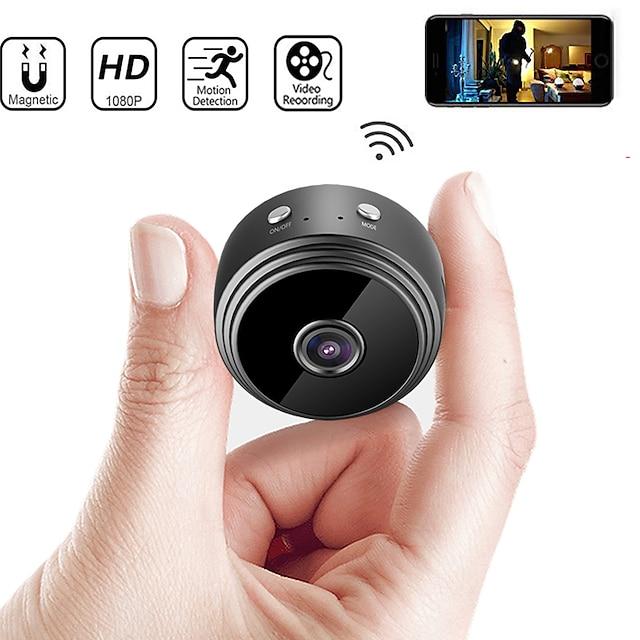 A9 กล้องถ่ายรูป 1080P (1920×1080) มินิ ไร้สาย การตรวจจับการเคลื่อนไหว การเข้าถึงระยะไกล Wi-Fi Protected Setup ในที่ร่ม สนับสนุน 128 GB / CMOS / Android / ระบบปฏิบัติการ iPhone