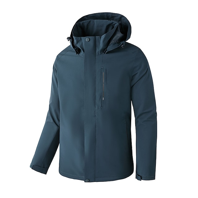 Men's Hoodie Jacket Hiking Jacket Hiking Windbreaker Winter Outdoor Solid Color Thermal Warm Waterproof Windproof Warm Outerwear Trench Coat Top Full Length Visible Zipper Skiing Fishing Climbing Red