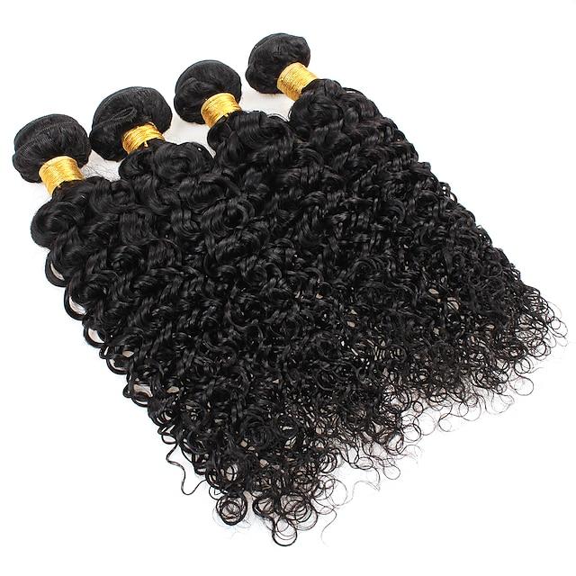 Ishow 3 Bundles Human Hair Weaves 100% Human Hair Peru Hair 3 Pieces Of Curly Human Hair 8-28 Inch Hair Extensions